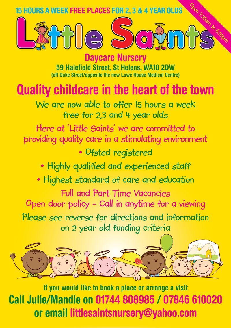 Childcare Leaflet Design For Little Saints Daycare Nursery By Www Flyer Designers Co Uk Childcare Nurseryleaflet Daycare Nursery Starting A Daycare Childcare