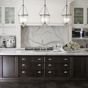 Marco Meneguzzi   Kitchens   Espresso Kitchen Island, Espresso Center Island,  Hundi Lanterns, Two Tone Kitchen, Statuary Marble, Statuary Marble  Countertops ...
