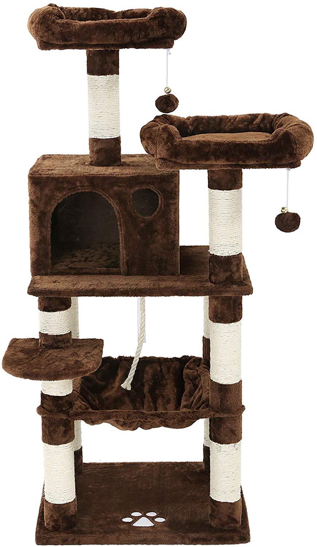 Amazon Com Feandrea 56 Inches Multi Level Cat Tree With Hammock