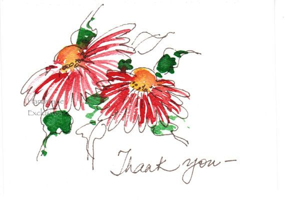Set of 10 Thank you cards Floral Hand by HandmadeExclusives, $20.00