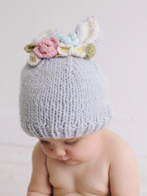 Bailey Bunny with Flowers Knit Hat   Knitting Patterns   Pinterest