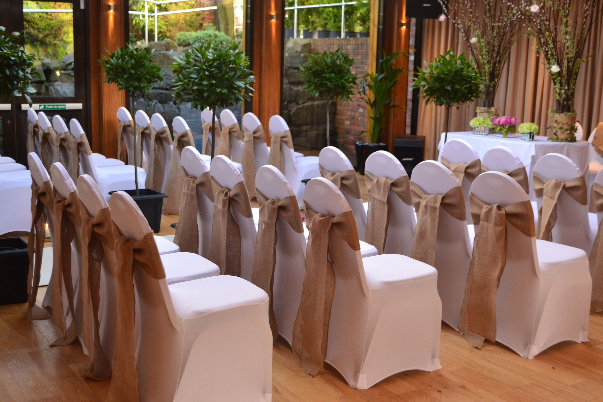 Gorgeous hessian chair covers from