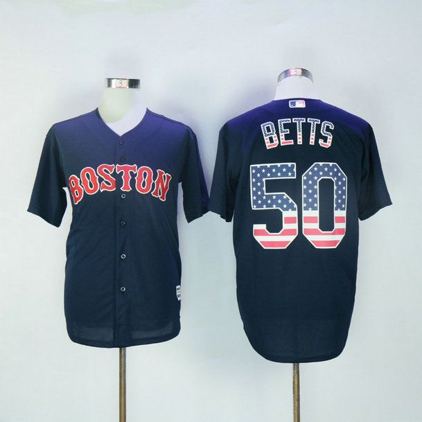 New Boston Red Sox Jerseys Mens USA FLAG  50 Mookie Betts Blue Baseball  Jersey Stitched 100% Name 1fe9bfb0b4c