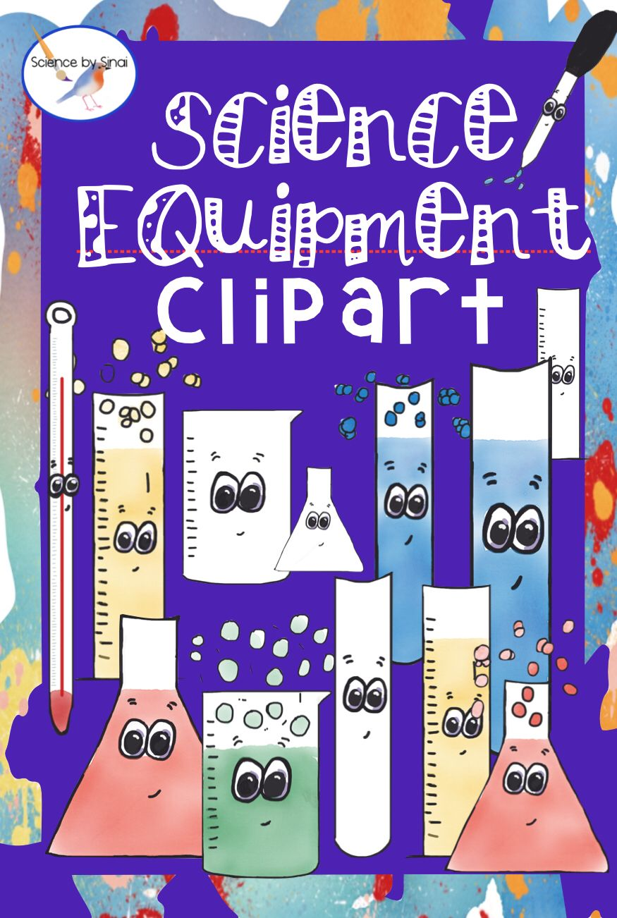 Fun science equipment clip art color and blackwhite science by
