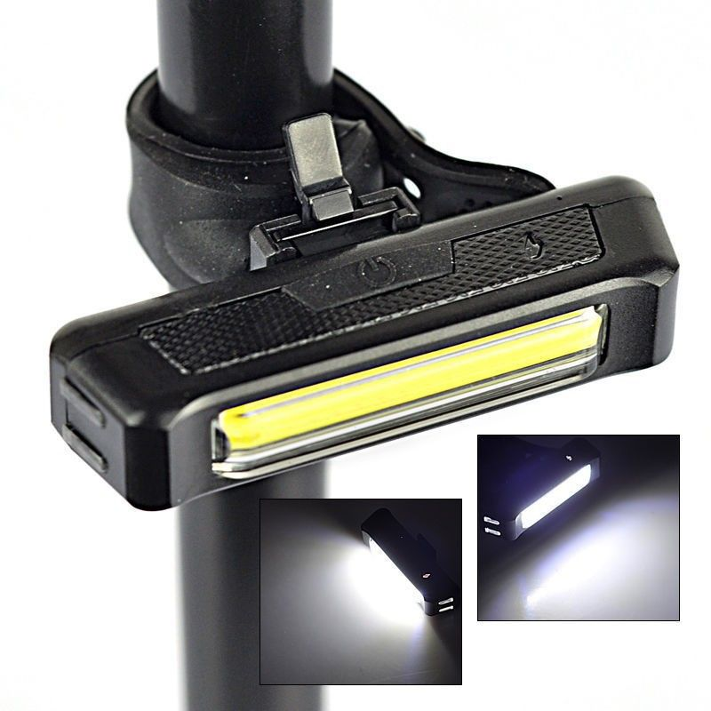 COB LED Bicycle Bike Cycling Front Rear Tail Light USB Rechargeable 6 Mode Lamp^