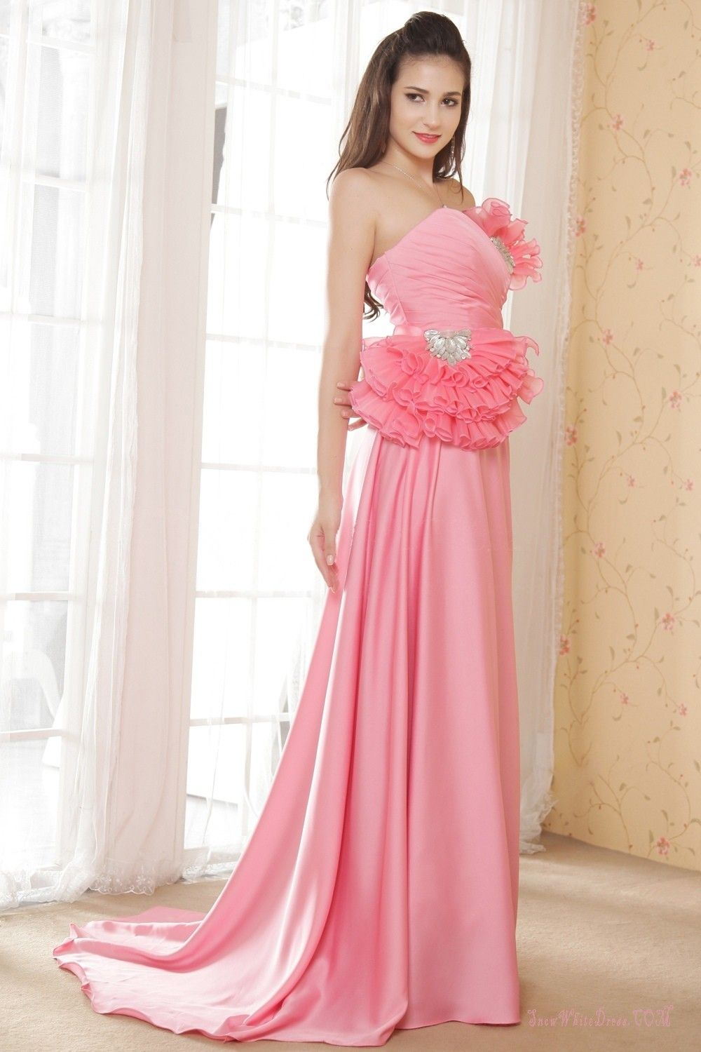 Pink Ruffles Floor Length Evening Gown | Wedding & Formal Gowns 2014 ...