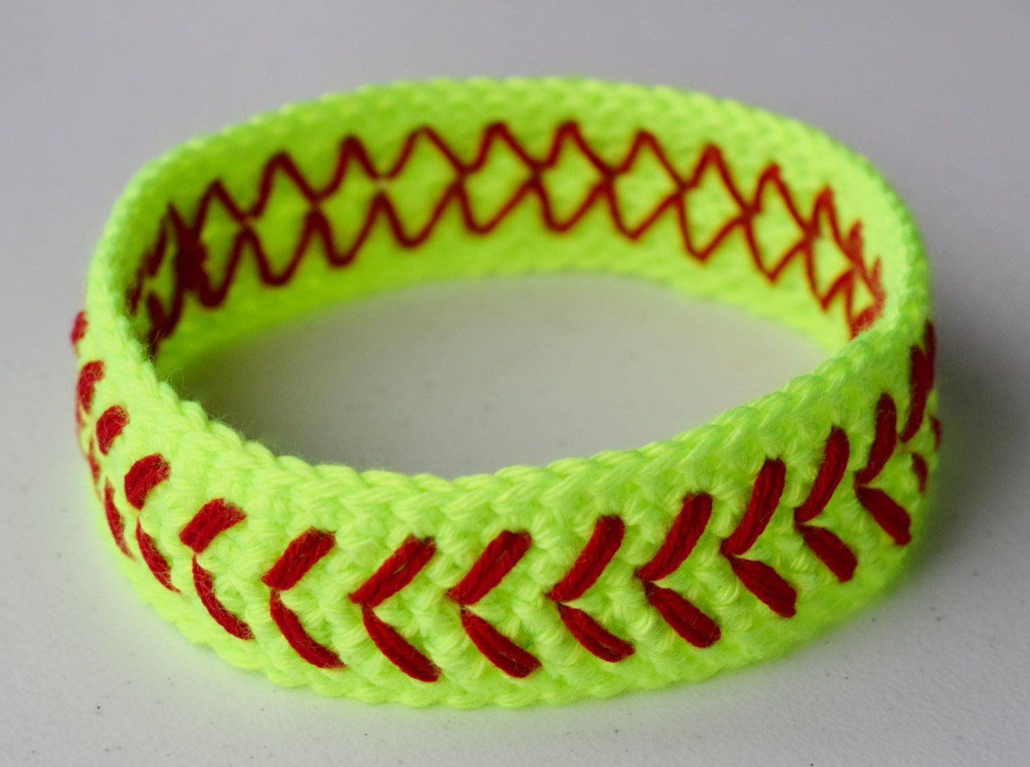 Crochet Softball Headband Neon Yellow Girls Womens Baseball Headband ...