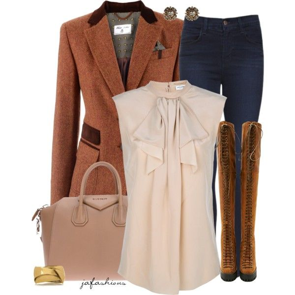 """Brown & Nude"" by jafashions on Polyvore"