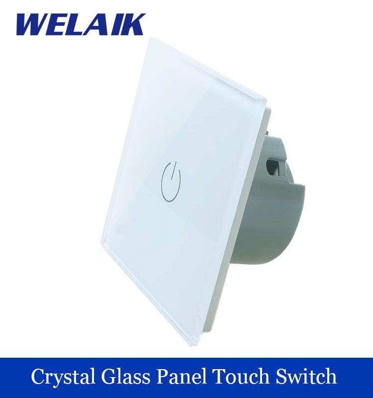 Welaik Kristallglas Verkleidung Schalter Wandschalter Eu Touch Schalter Bildschirm Wand Lichtschalter 1gang1way Ac110 250 V Parement Mural Led Interrupteurs