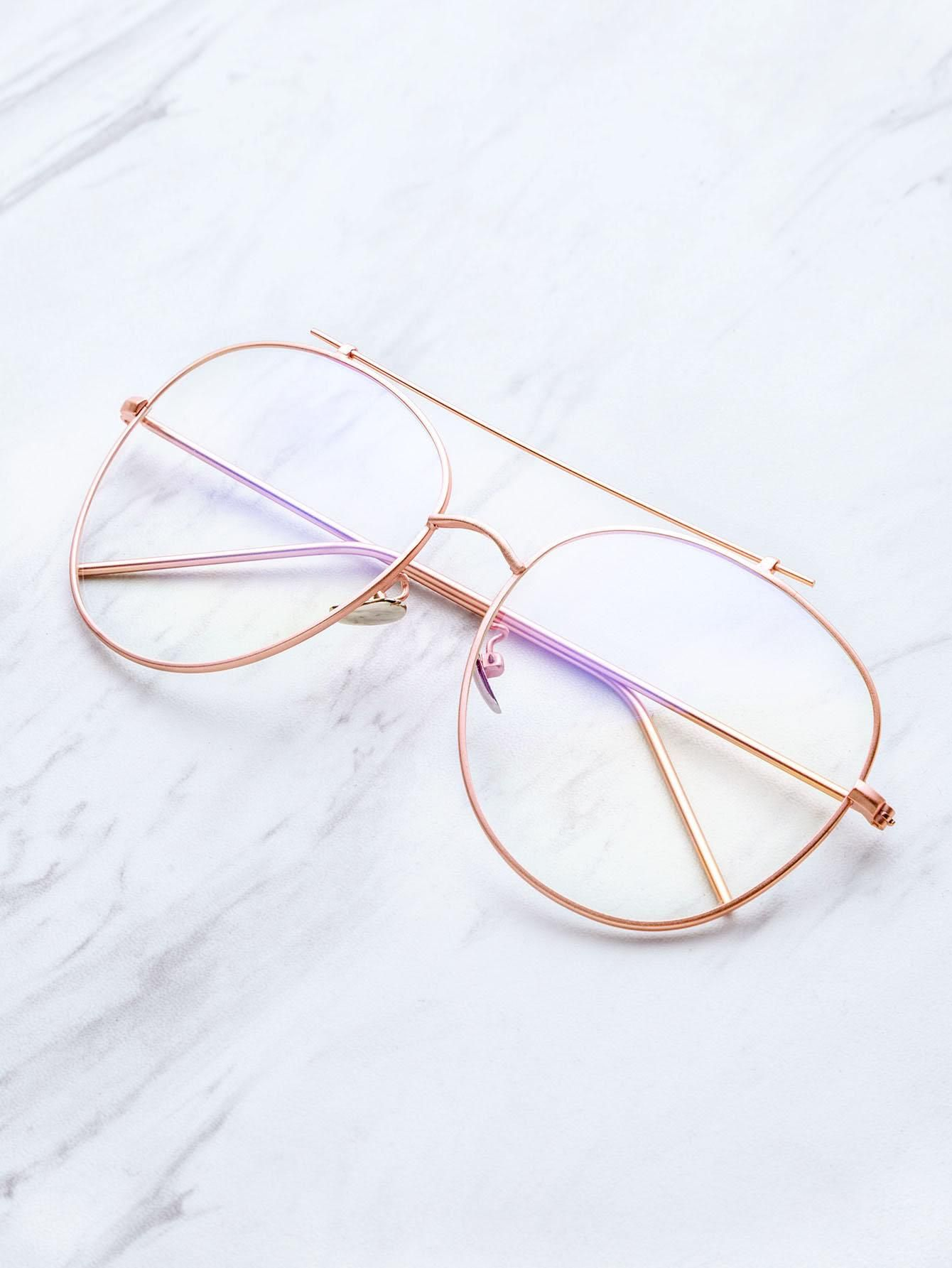 fed9de901ac SheIn - SheIn Rose Gold Frame Clear Lens Double Bridge Glasses - AdoreWe.com