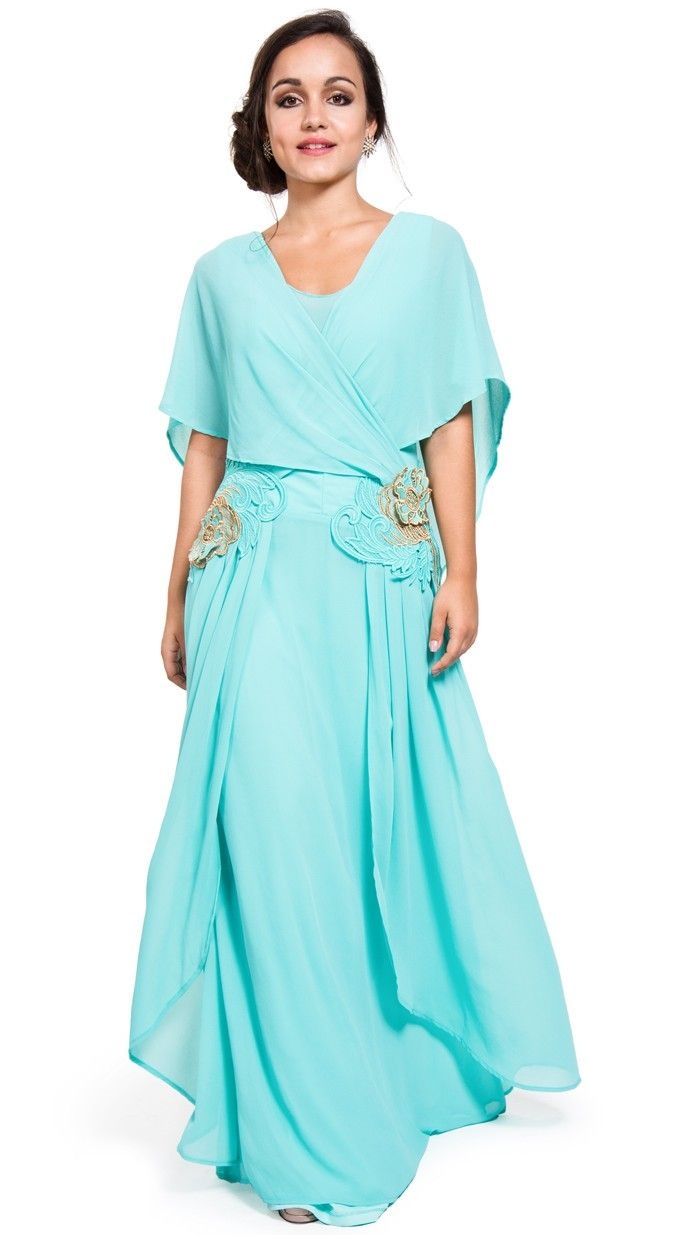 vestido largo griego azul cielo para invitada de valeria de erbais ...