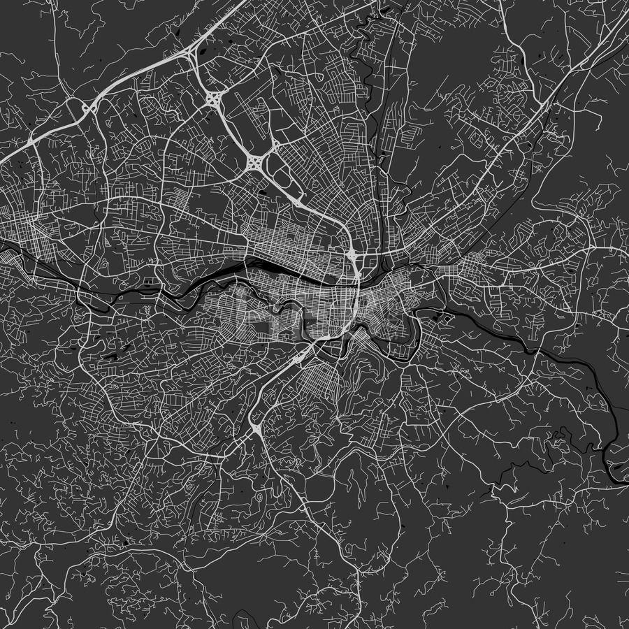 Roanoke Virginia Area Map Dark Ui ux