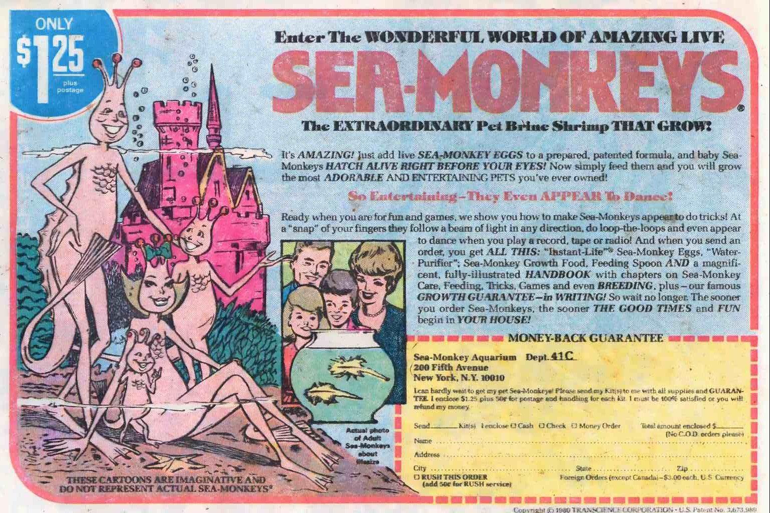Sea Monkeys Advertisement From 1980 Comic Book Sea Monkeys
