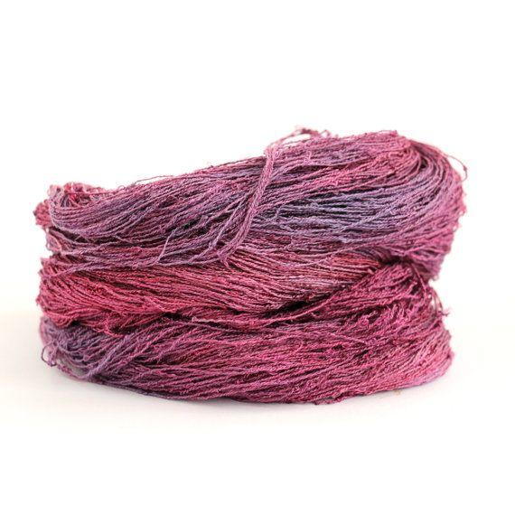 Handdyed Laceweight Banana Yarn Hand Dyed Vegan Silk Natural Fiber Lace Yarn Berry Plum Pink Knitting Crochet Handmade Yarn Hand Painted Yarn Hand Dyed Yarn