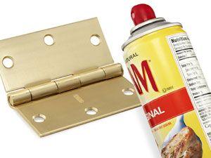 Quiet a squeaky door hinge with a spritz of cooking spray. #problemsolver  sc 1 st  Pinterest & 55 GENIUS New Ways to Use Everyday Things | Squeaky door Door ...