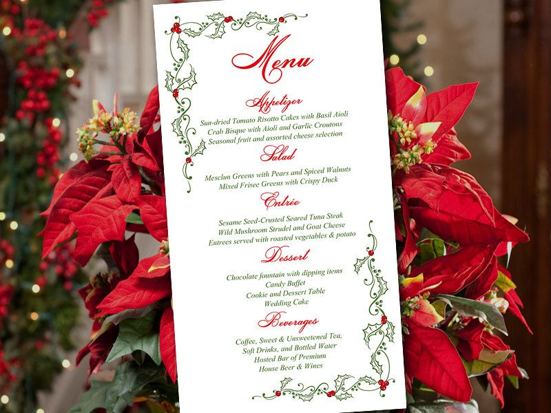 Diy Wedding Menu Template Download  Printable Menu Festive Holly