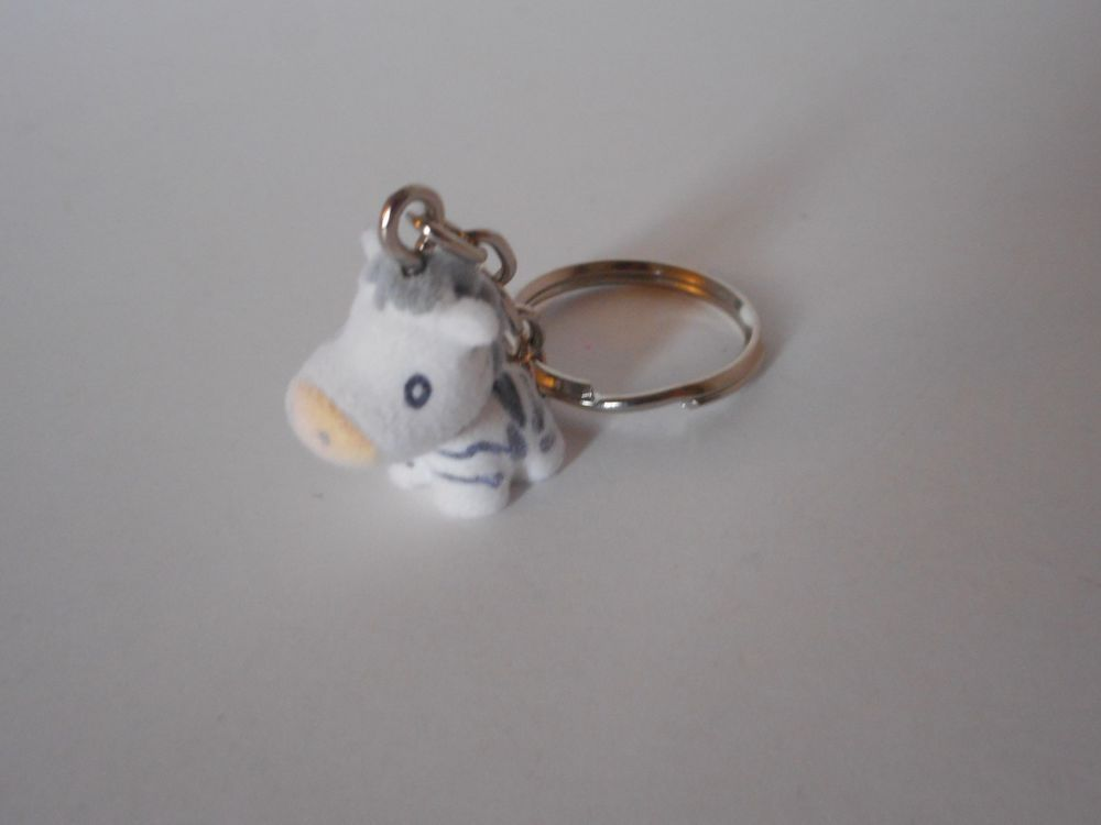 Adorable! key chain backpack purse lunchbox charm flocked zebra   #unbranded