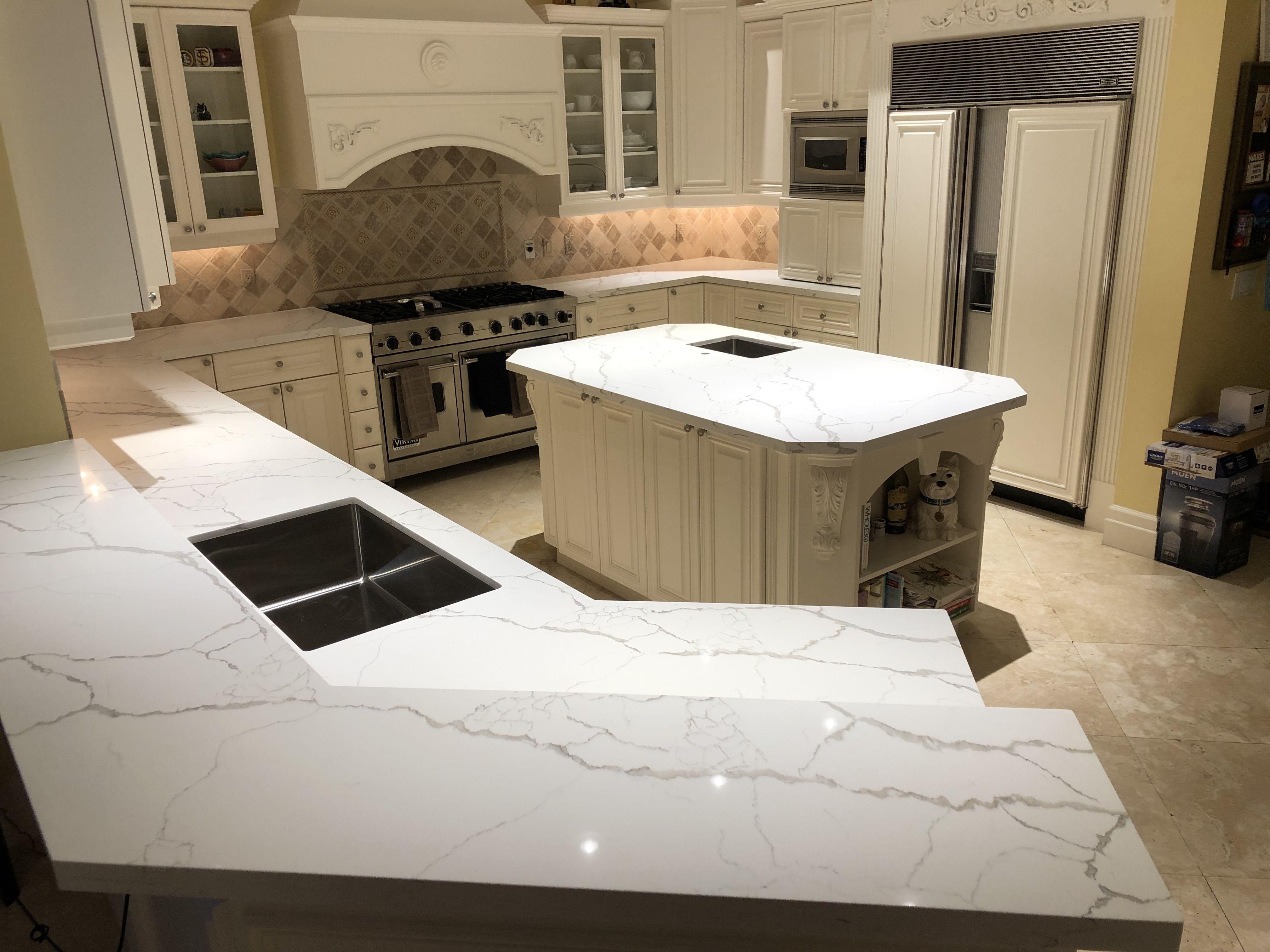 How Do Calacatta Laza Quartz Countertops Look Installed Boca