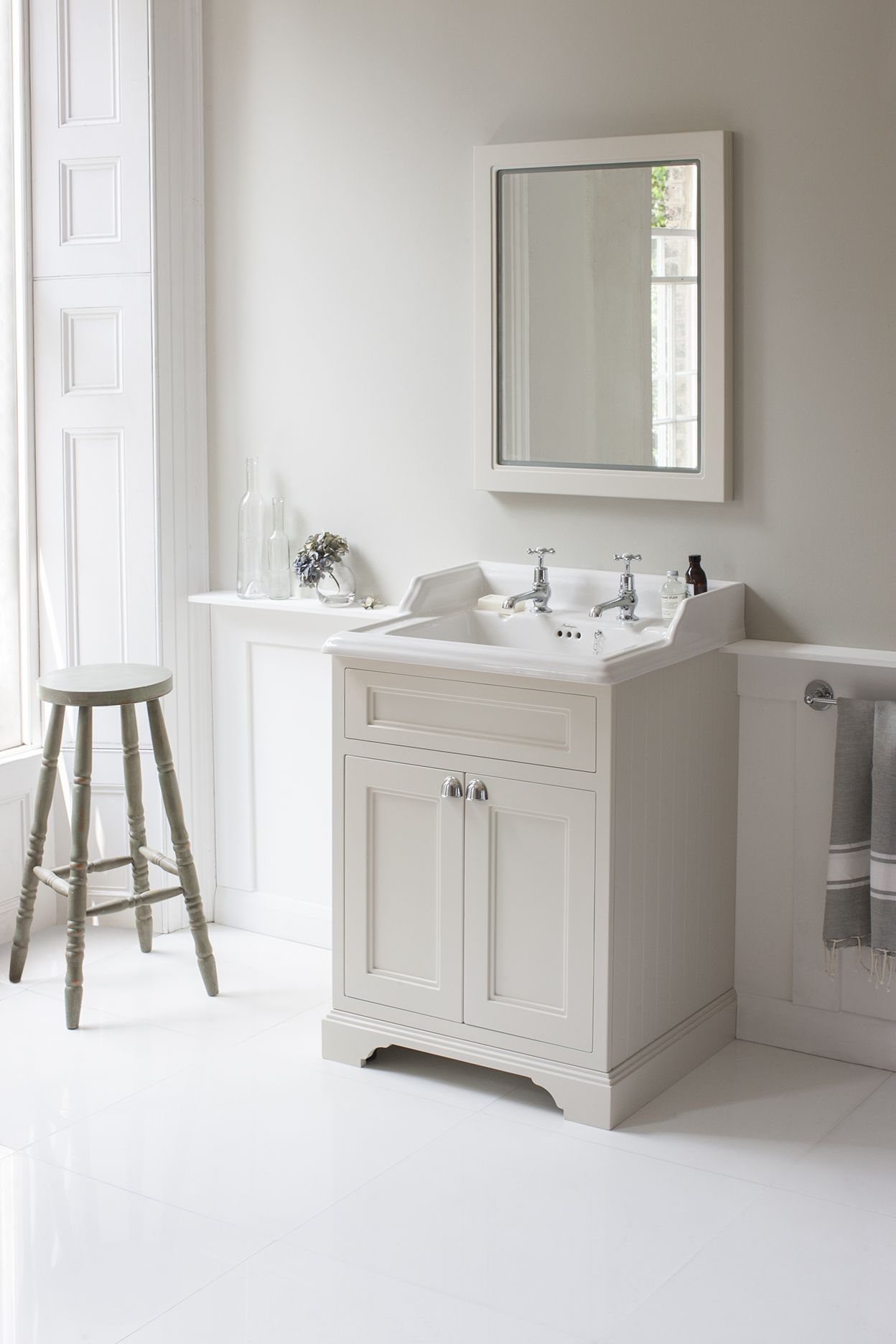 Photos Of Classic style and sophisticated British elegant with the Sand Freestandin Vanity Unit with doors from Burlington Bathrooms