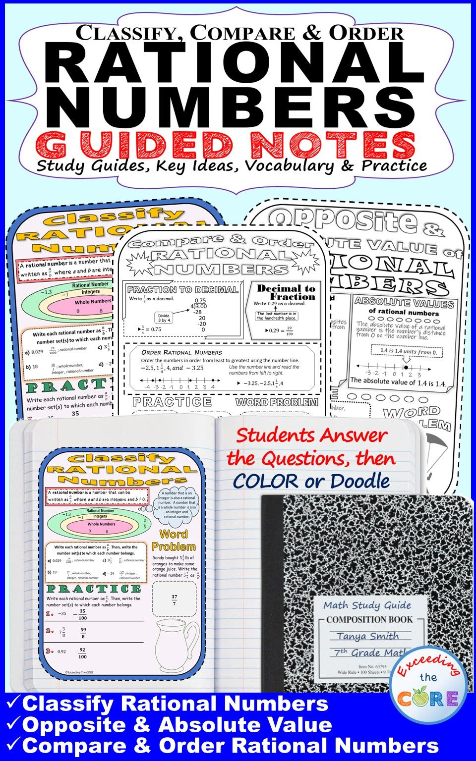CLASSIFY & ORDER RATIONAL NUMBERS Doodle Math Interactive