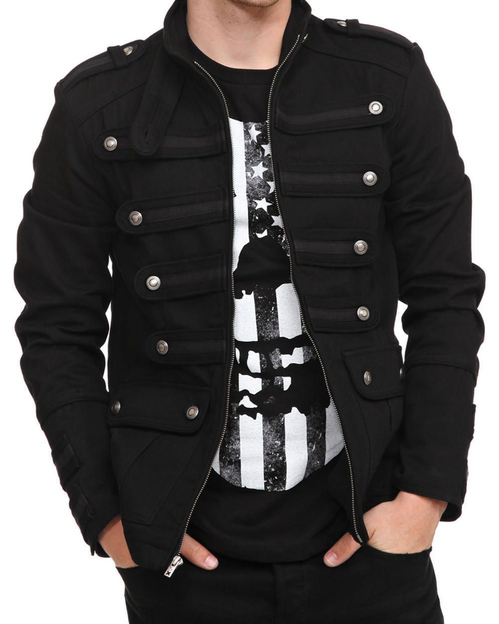 cf348531920 Men's Unique Gothic Steampunk Black Parade Military Marching Band Drummer  Jacket Goth Steampunk Vintage Pea Coat Gothic Military Jacket