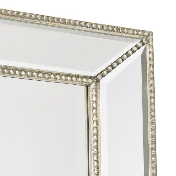Channing Silver Beaded Floor Mirror | Floor mirror and Bedrooms