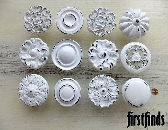 12 Misfit Lg Shabby Chic White Distressed Knobs Kitchen Cabinet