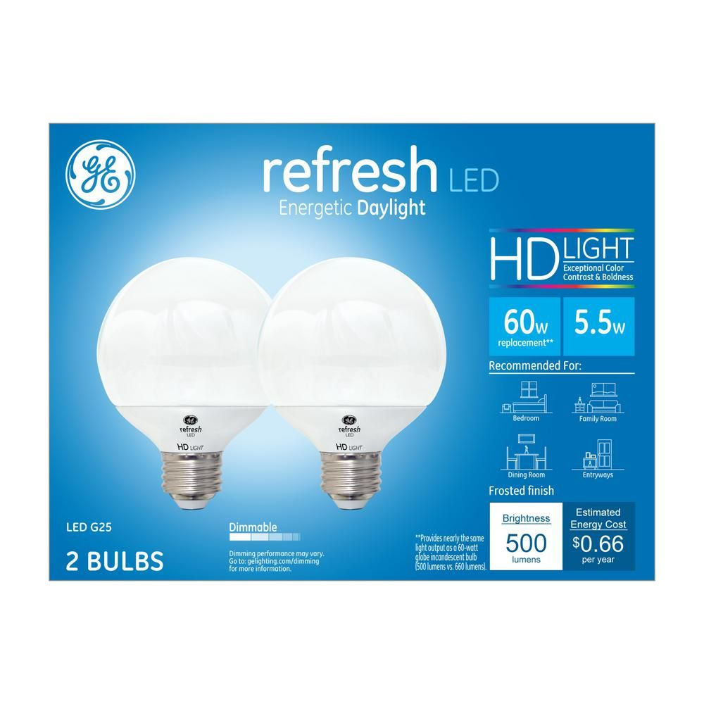 GE 60W Equivalent Daylight (5000K) High Definition G25 Globe White