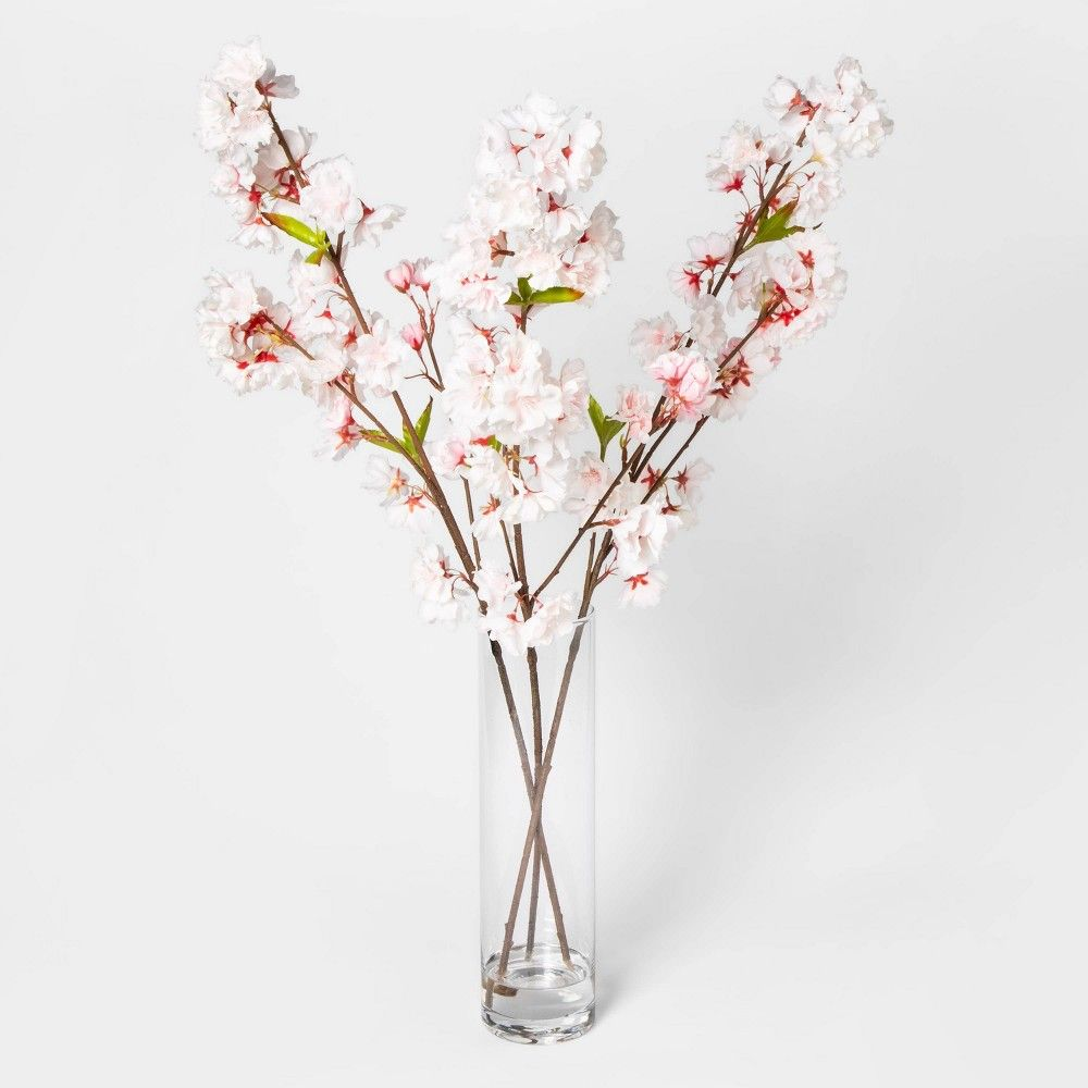 27 X 14 Artificial Cherry Blossom Arrangement Pink White Threshold In 2020 Cherry Blossom Decor Artificial Flowers And Plants White Floral Decor