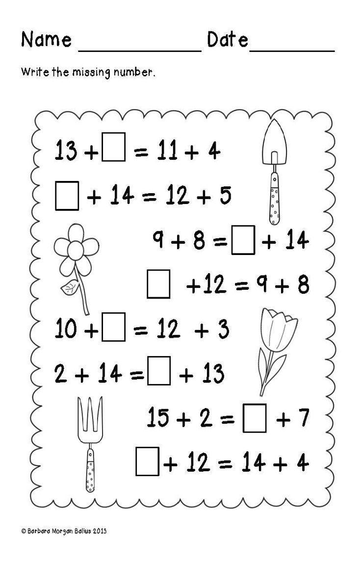 First Grade Math Spring Balancing Equations Addition 1 Oa 3 1 Oa 6 First Grade Math Balancing Equations First Grade Worksheets Balance addition equations worksheet