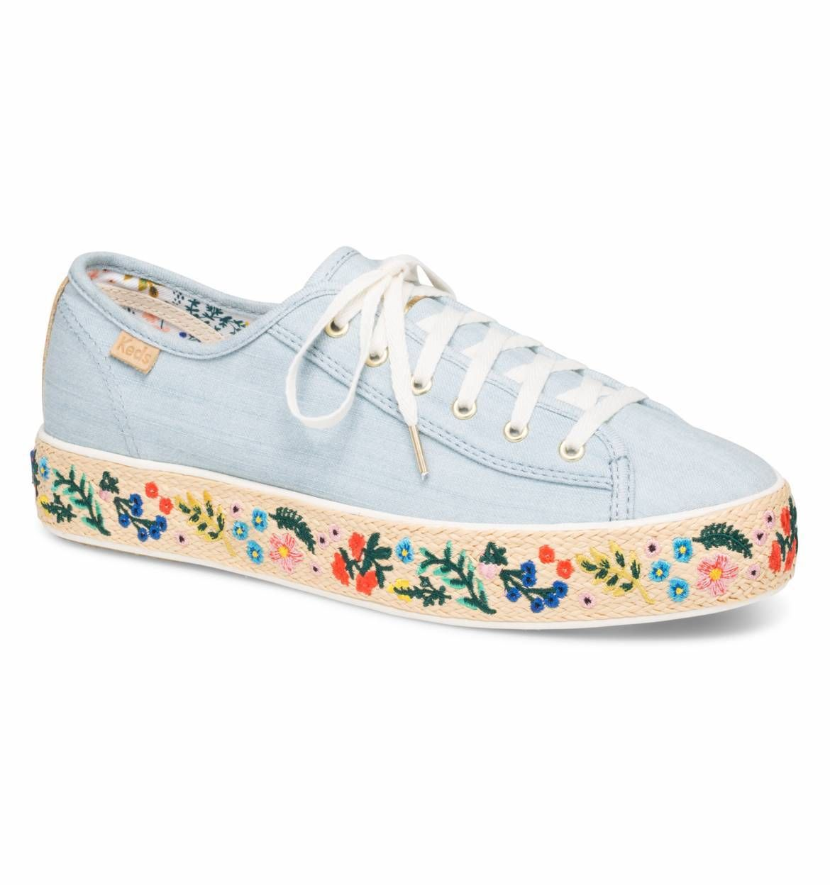 7846cb98ccd0 RIFLE PAPER Co. Rosalie Embroidered Jute Triple Kick Sneaker by Keds