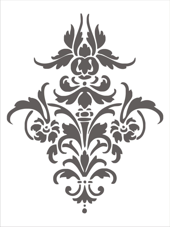 Stencil Damask Design 4.1, flourish scroll wall stencil ...