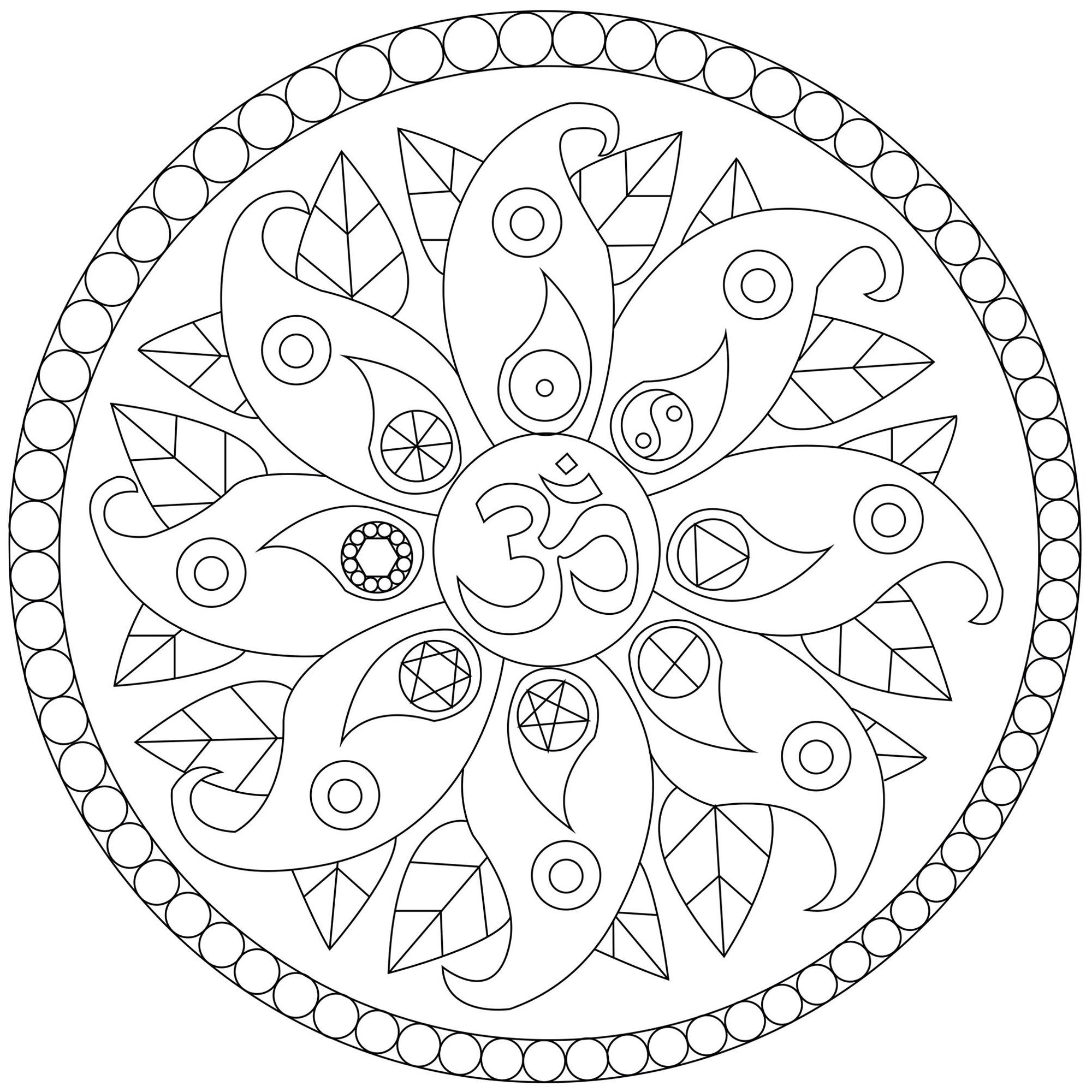 Mandala With Peace Symbols Mandalas Coloring Pages For Adults
