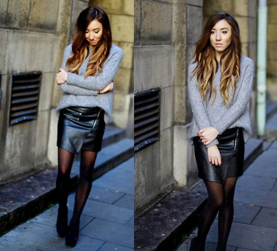 Leather skirt with sweater – Modern skirts blog for you