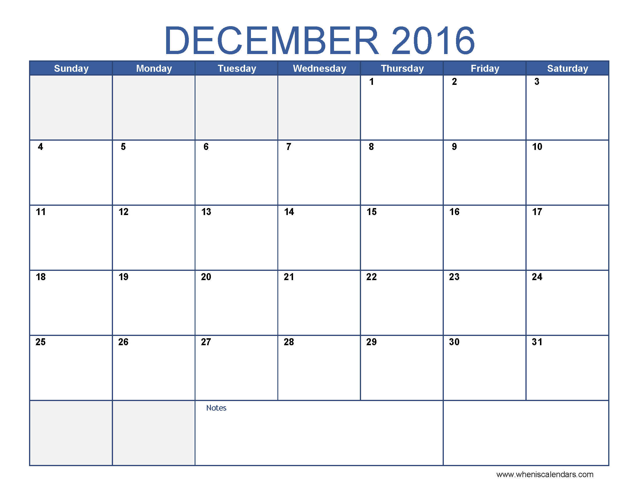 December Calendar To Print