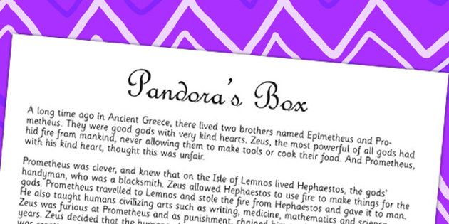 Pandora's Box Ancient Greek Myth Story Print Out | Year 5 Ancient ...