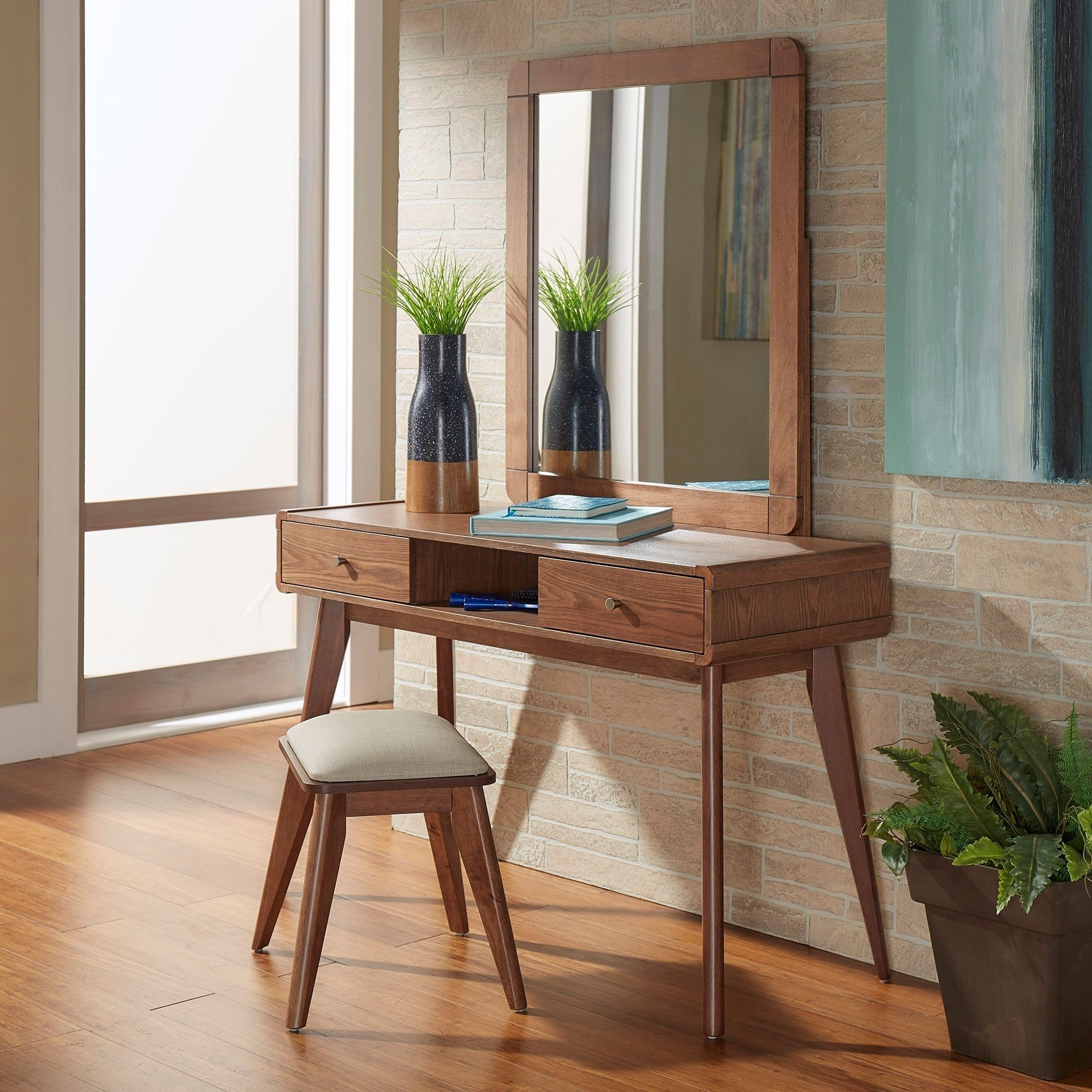 Penelope Danish Modern Vanity Console Table iNSPIRE Q Modern (Chestnut  Table + Mirror + Stool