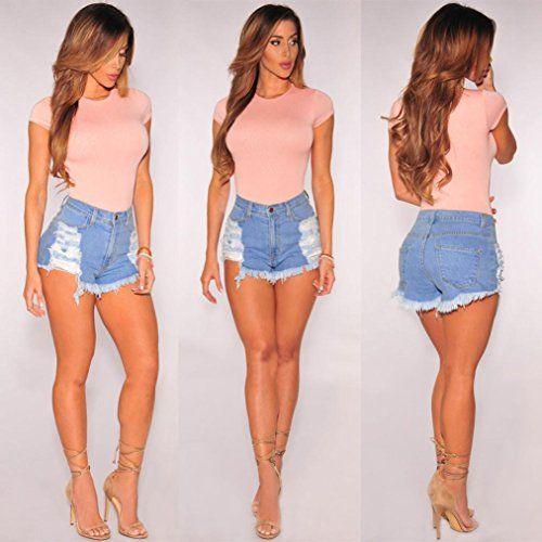 24e3059365 GoodLock Hot Sale!!! Women High Waisted Denim Summer Fashion Ripped Shorts Jeans  Hot Beach Pants,#High, #Waisted, #Denim, #Women
