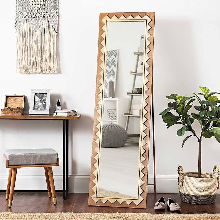 Natural Geometric Cheval Full Length Floor Mirror | Living ... on Floor Mirrors Decorative Kirklands id=94491