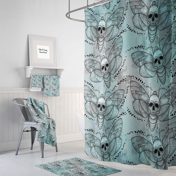 Sugar Skull Shower Curtain Day Of The Dead Death Moth Watercolor Gray Teal Optional Bath Mat And Towels