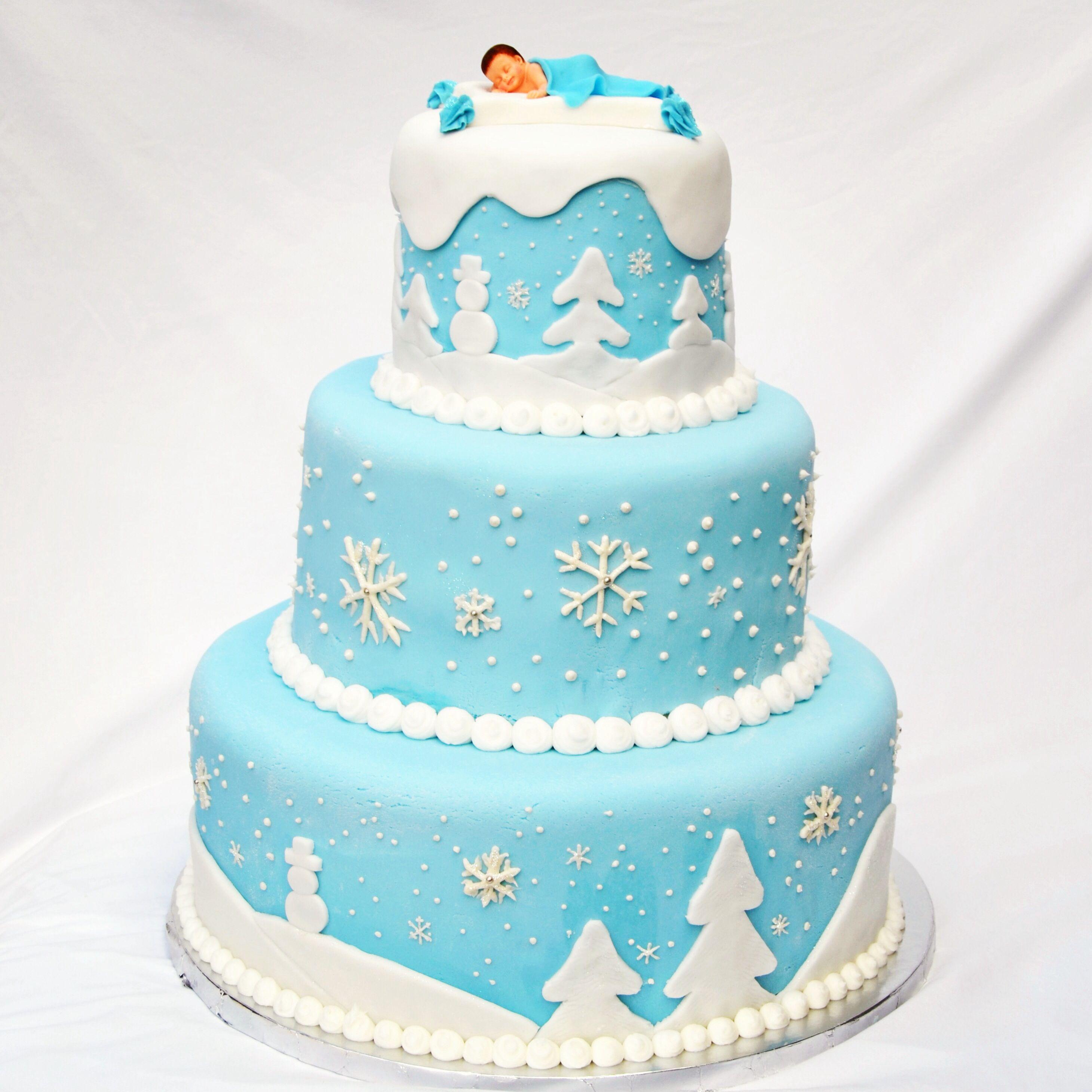Winter Wonderland Baby Shower Cake   From Bakemiacake.com