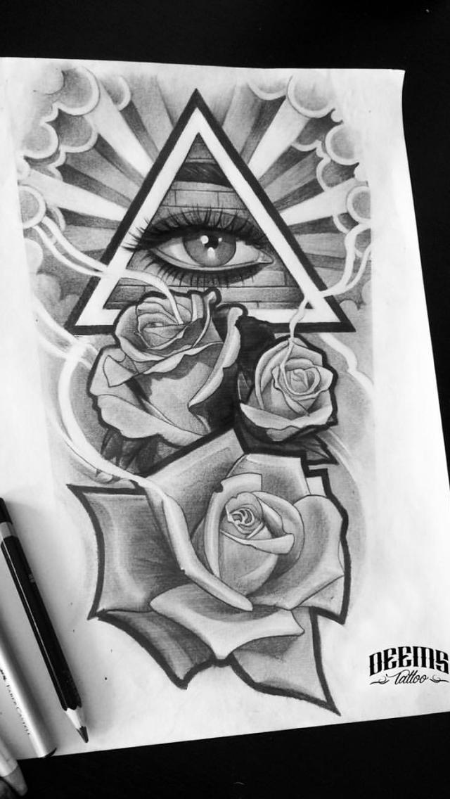 Cool eye inside the triangle. Third eye tattoos, Eye