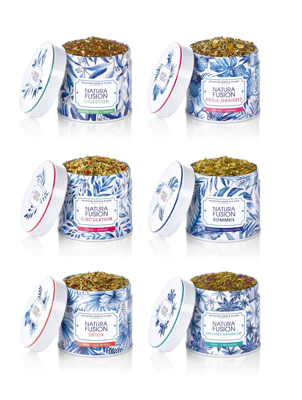 Packaging design for tea branding. Tropical and botanical patterns, that illustrate the ingredients of the drink. Watercolor detailed botanical illustrations.