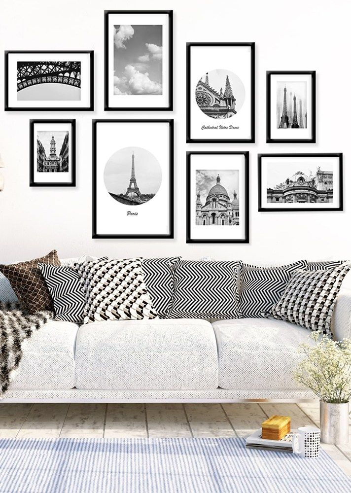 19 Tips For Creating A Gorgeous Black And White Gallery Wall Modern Room Decor White Wall Decor Wall Decor Living Room