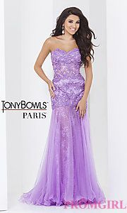 Buy Long Lilac Strapless Sweetheart Tony Bowls Dress at PromGirl