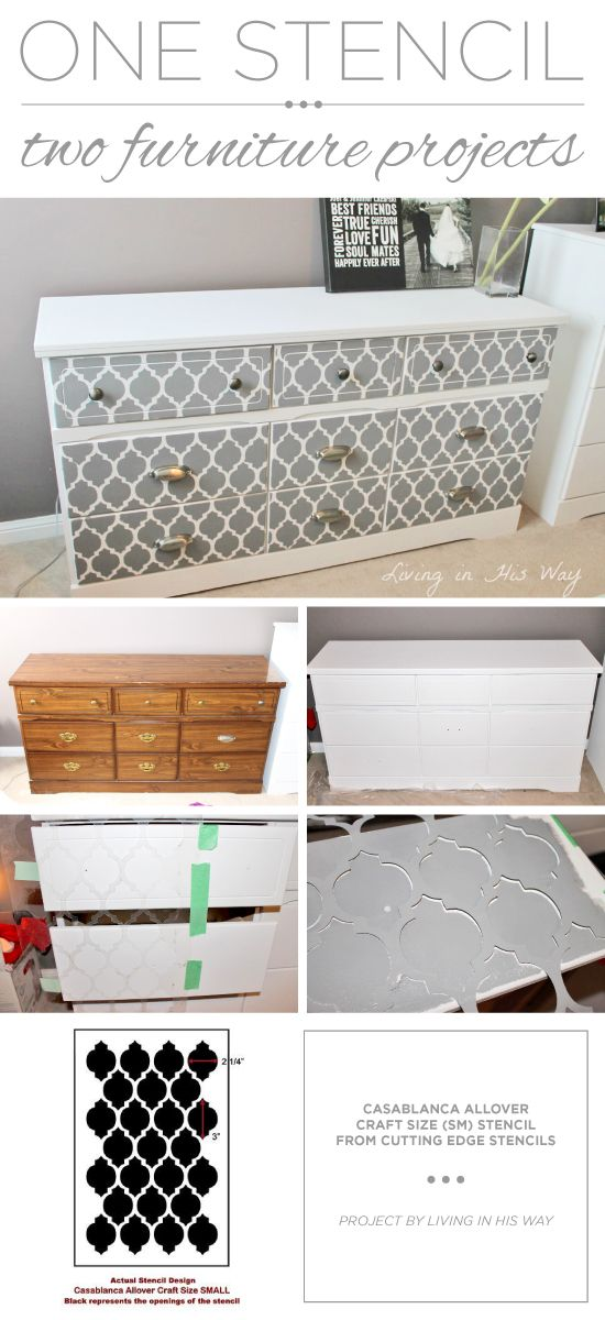 A DIY Stenciled Dresser Using The Casablanca Craft Stencil From Cutting  Edge Stencils. Http://www.cuttingedgestencils.com/craft Furniture  Stencil.html