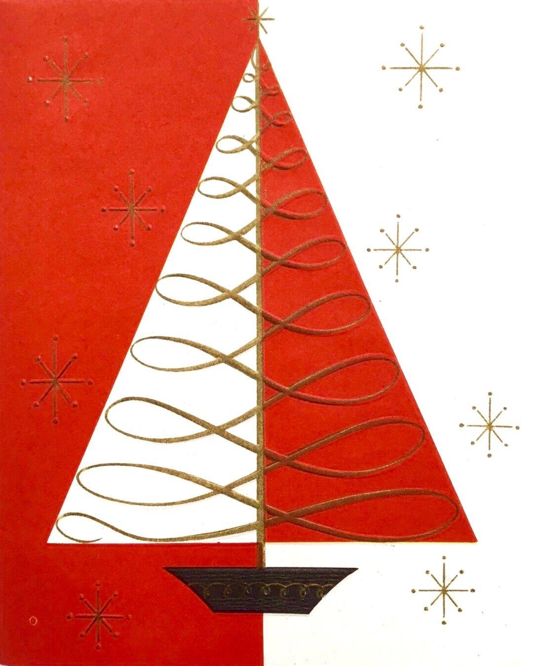 midcentury modern christmas card retro christmas card