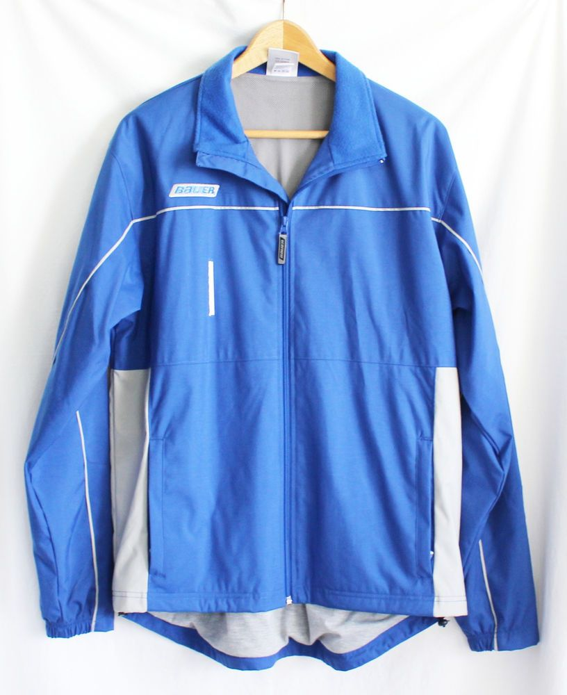 Bauer Hockey Jacket Mens Size Medium Warm Up Blue Gray Zip Up Lined Back Vent Bauer Jackets Mens Jackets Zip Ups
