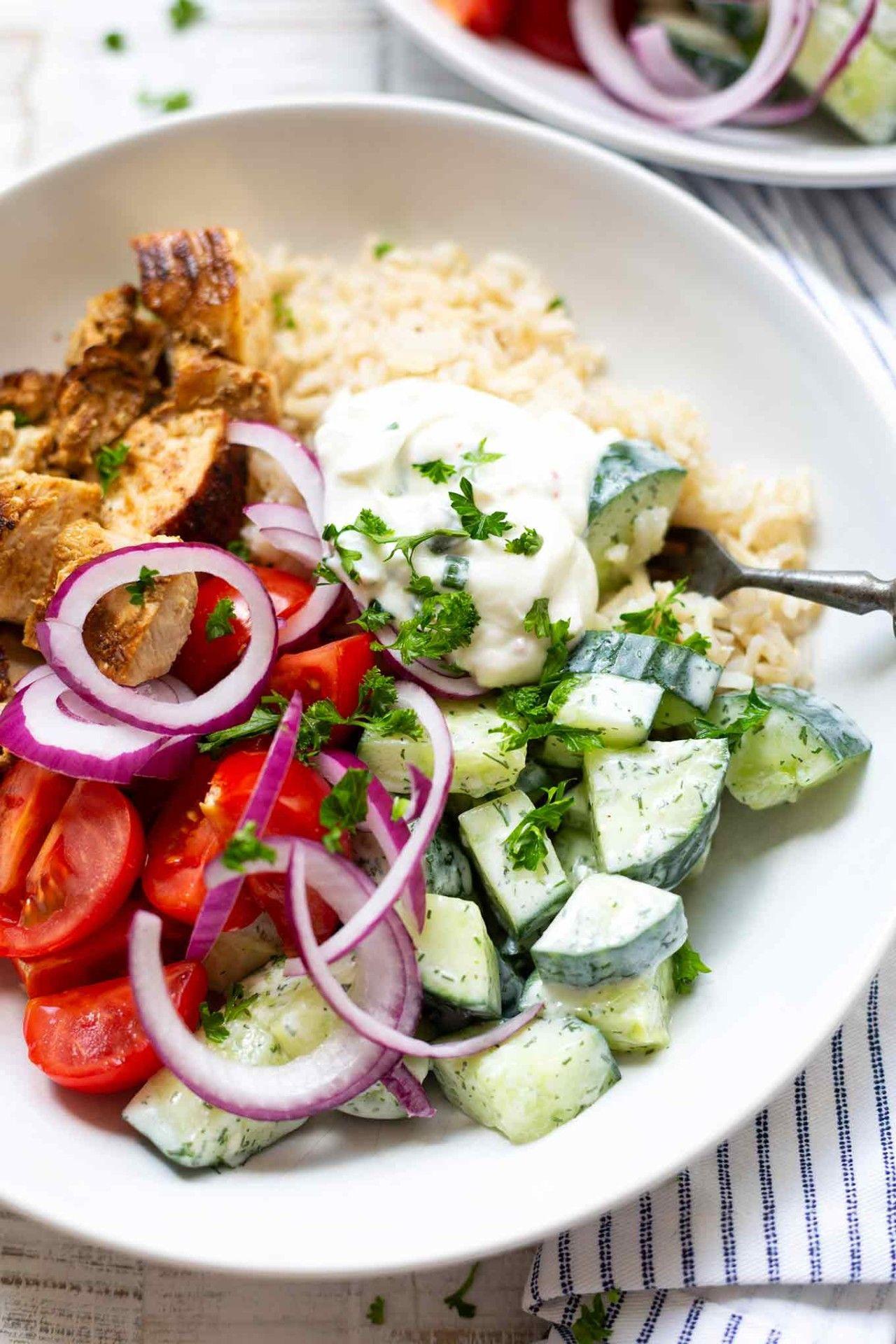 Griechische Hähnchen-Tzatziki Bowl - Kochkarussell