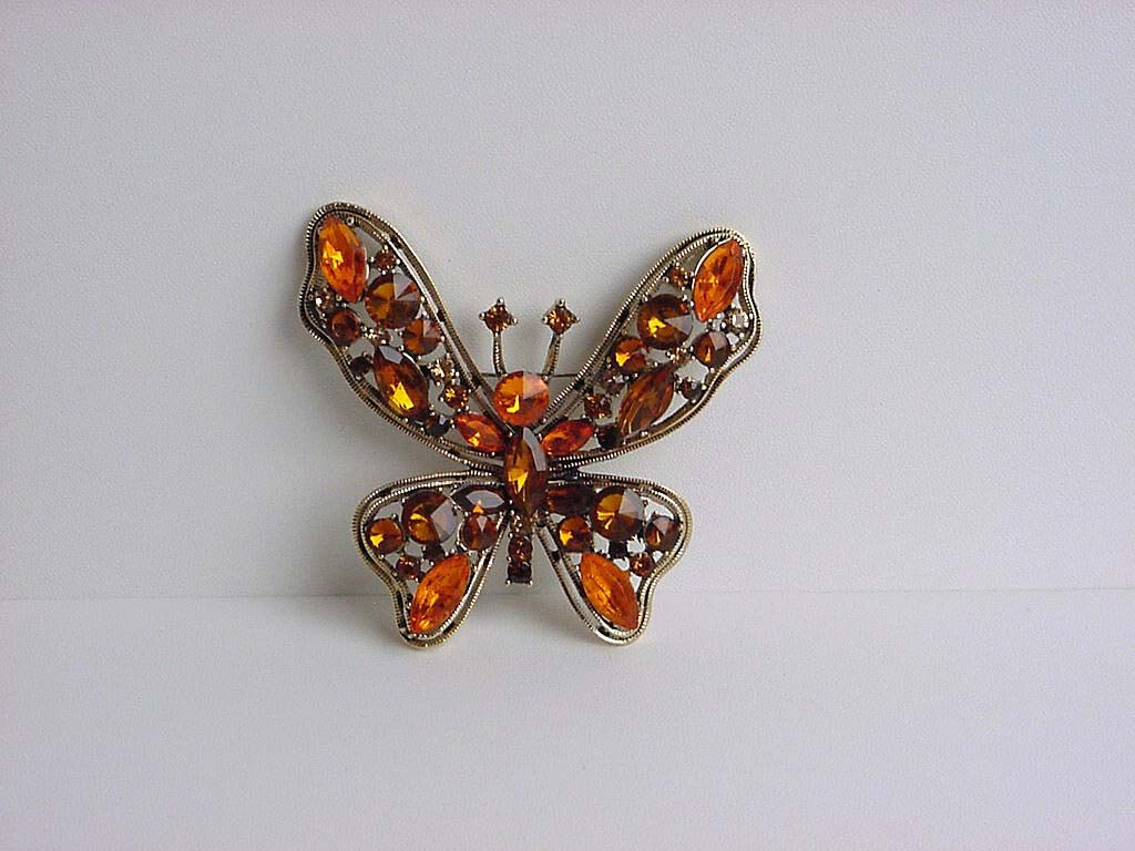 Butterfly Brooch Pin Amber Glass Rhinestones Large Gemstones Vintage